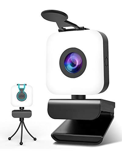 MHDYT Webcam PC con Microfono y Aro de Luz, Camara Web 1080p con...