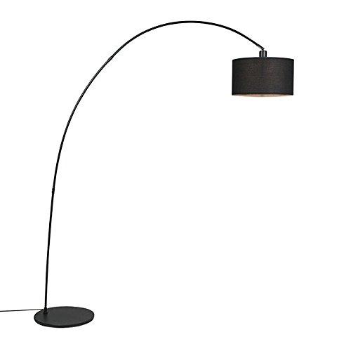 QAZQA Modern Moderne Bogenlampe schwarz - Vinossa/Innenbeleuchtung/Wohnzimmerlampe Textil/Stahl Länglich LED geeignet E27 Max. 1 x 60 Watt