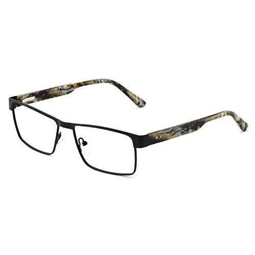 OCCI CHIARI - anteojos para hombre, rectangulares, ópticas, con lentes transparentes sin receta, 15040-black/Grey, L