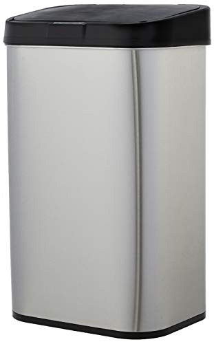 AmazonBasics Automatic Stainless Steel Trash Can - Rectangular, 60-Liter