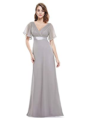 """Special short sleeve style Unique ruffles in the bust area Padded enough for """"no bra"""" option Glamorous double V-neck evening dress Notice: for size 4-16, dresses are padded with built-in bra; for size 18-26, dresses are mixed with two versions: padde..."""
