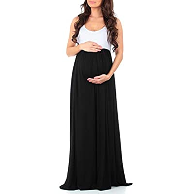Sleeveless maxi dress designed with style and versatility in mind perfect for use all year round and through all stages of pregnancy with its beautiful, yet functional stomach ruching. Features a superbly soft and stretchy rayon/spandex material perf...