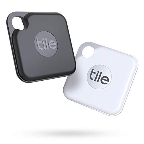 Tile Pro (2020) buscador objetos Bluetooth, Pack de 2, negro/blanco. Radio búsqueda 120m, batería 2 años, compatible con Alexa, Google Smart Home, iOS, Android. Busca llaves, mandos a distancia y más