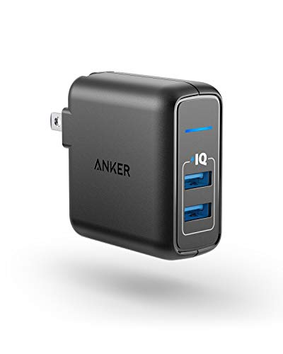 Anker Elite USB Charger, Dual Port 24W Wall Charger, PowerPort 2 with PowerIQ and Foldable Plug for Iphone XS/Max/XR/X/8/7/6/Plus, Ipad and more