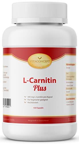 L-Carnitin - 100 Kapseln Hochdosiert - L Carnitin 1000 mg (Tagesdosis) - Laborgeprüft - Made in Germany von VITACONCEPT