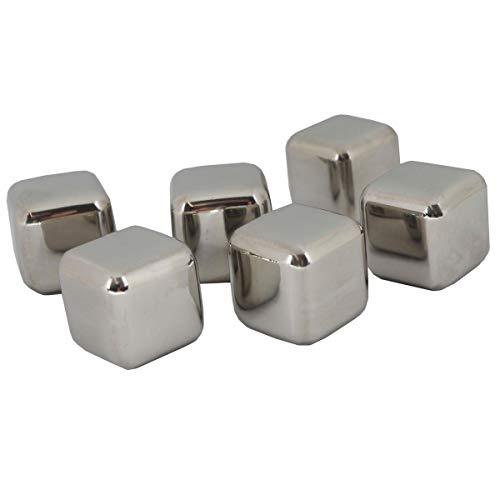 6Acciaio Inox Set di cubetti di ghiaccio pietre Whiskey Ice Cubes refrigeranti per...