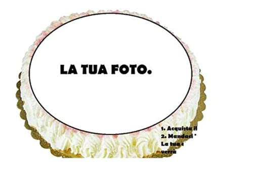 Dolce idea Crea La Tua CIALDA Personalizzata in Ostia, Forma Rotonda diam. 20 cm, Decorazione per Torta.