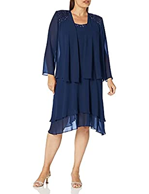 Sleeveless chiffon dress with embellished scoop neckline and tiered skirt Pullover Size 18W - dress length 40 1/2 inch Two-piece set with sleeveless dress and long-sleeve jacket