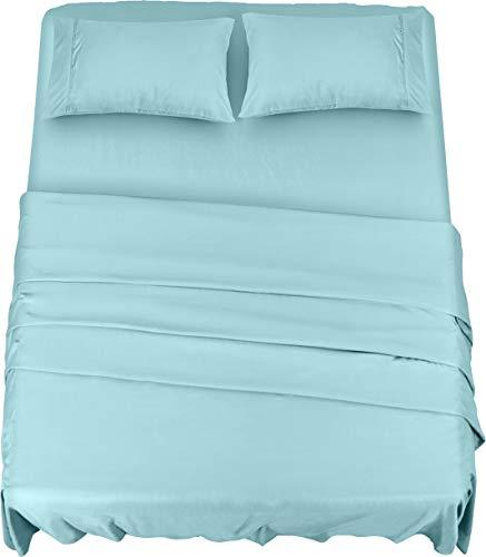 Utopia Bedding - Completo Lenzuola Letto - Spazzolata Microfibra - Lenzuola e Federe (Blu Spa, King)
