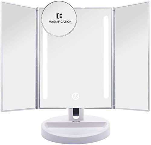 Auxmir Kosmetikspiegel mit LED Licht, Schminkspiegel Beleuchtet mit Blendfreier Bleuchtung für Schminken Rasieren, Makeup Spiegel mit Touchschalter für Dimmbare Helligkeit