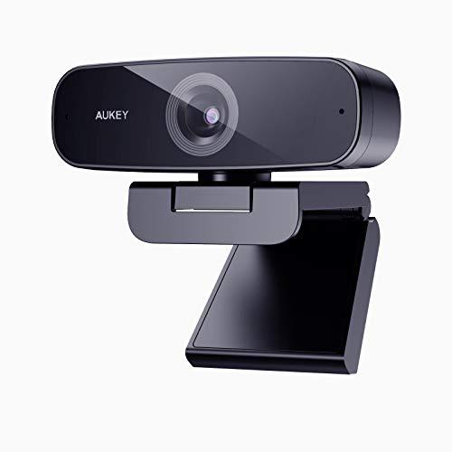 AUKEY Webcam 1080p Full HD con Microfono Stereo Riduzione del Rumore Web Camera USB Computer Camera per PC Laptop Desktop Videochiamata, Conferenza