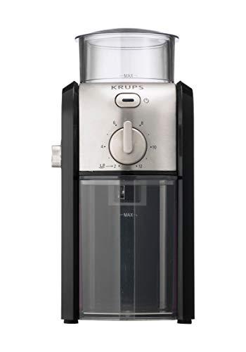Krups GVX242 Molinillo de café profesional con sistema de muelas con torno-molido y 17 ajustes de triturado, de más fino a más grueso, potencia 100 W, Negro