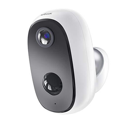 Telecamera WiFi Esterno Batteria 10000mAh ieGeek Telecamera IP Sorveglianza Senza Fili con 1080p FHD, Rilevamento del Movimento Umano, Audio Bidirezionale, Visione Notturna, Compatibile con SD/Cloud