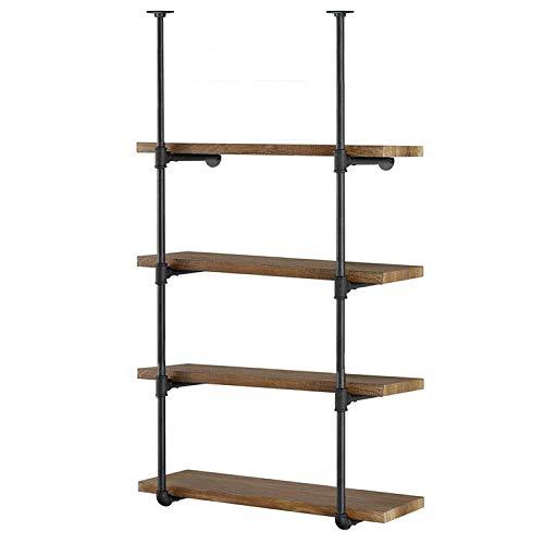 Industrial Wall Mount Iron Pipe Shelf Shelves Shelving Bracket Vintage Retro Black Open Bookshelf Bookcase DIY...