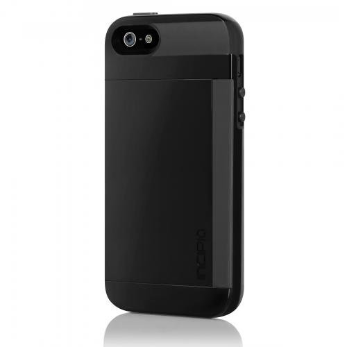 Incipio Stowaway Wallet Credit Card Hard Protective Case for iPhone 5 5S SE Cover-Black/Black