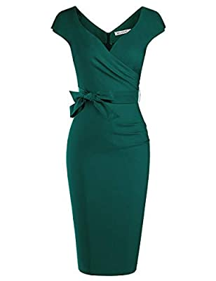 Classic Vintage 1950 Style, Sweetheart Neckline, Wrap Ruched Tie Waist Below the Knee Dress Ultra form-fitting,extremely comfortable,with a hidden zipper at the back This dress is absolutely amazing and it fits your curves perfectly Great for Formal,...