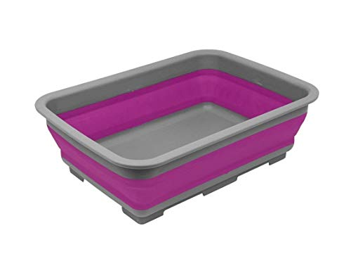 Ram® Collapsible Washing Up Bowl - Portable 10 Litre Water Storage Basin Ideal for Camping, Caravans, Outdoor Activities, Kitchen and more - Purple
