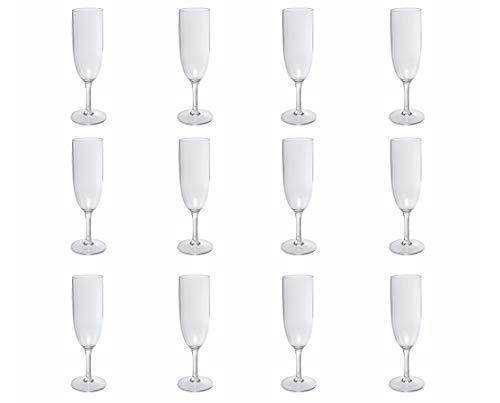 Nordiska Plast - 12 bicchieri da champagne, in plastica, 170 ml, riutilizzabili, in plastica trasparente, in plastica pregiata, senza BPA