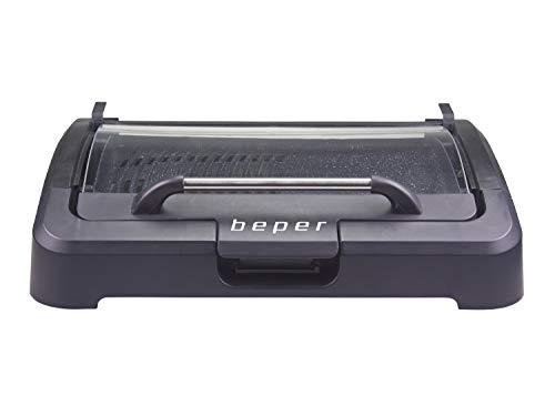Beper 90.871 Barbecue Elettrico con Coperchio, Acciaio Inossidabile, Nero