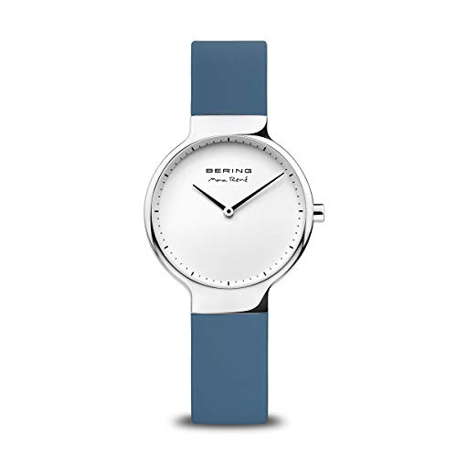 BERING Damen Analog Quarz Max René Collection Armbanduhr mit Silikon Armband und Saphirglas 15531-700