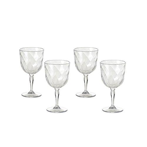 Omada Design Set di 4 Calici da Vino in plastica, 27,5 cl, Made in Italy, Lavabili in Lavastoviglie,...