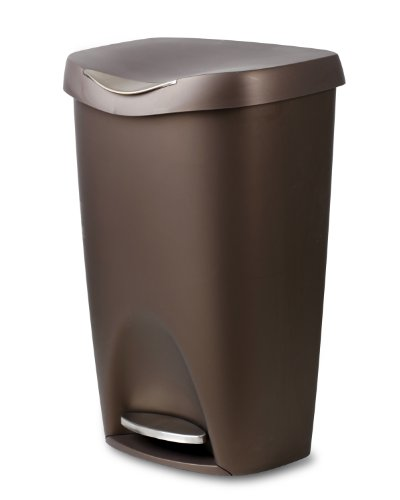 Umbra 084200-125 , Bronze Brim Large Kitchen Trash Stainless Steel Foot Pedal  Stylish and Durable 13 Gallon Step Garbage Can with Lid