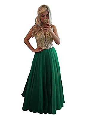Design:A Line,Chiffon,Scoop Neck,Lace Applique,Beaded,Button Back,Floor Length OCCASION: This dress suits for homecoming, prom, evening cocktail party, wedding party, pageant, office, club, family gathering or any other formal occasions SIZE: Please ...