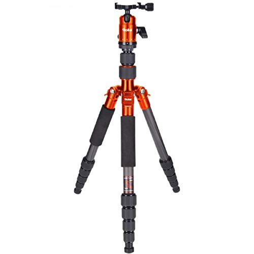 Rollei Compact Compact Traveler No I Carbon I Orange I Leichtes-Reisestativ I Foto-Stativ mit geringem Packmaß I Kugelkopf und Stativtasche