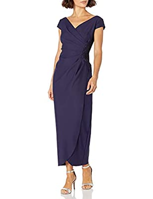 "Long Cap Sleeve Dress Surplice Neckline with Hot Fix Beaded Detail at Hip Made with our best-selling slimming and smoothly compression fabric Center back length: 52. 5"" Style #234087"