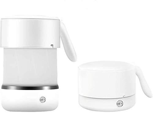 Bouilloire électrique pliable pour le voyage, chauffe-thé chaud de chaudière électrique en silicone 500ML, bouilloire pliable à double tension avec fond en acier inoxydable blanc 110-240V
