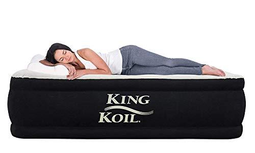 King Koil California King Luxury Raised Air Mattress with Built-in 120V AC High Capacity Internal...