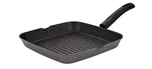 Attro Non-Stick Aluminium Gas Compatible Grill Pan, 24 cm, Spatter Finish, Marble Grey