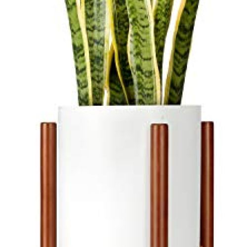 Plant Stand Mid Century Wood Up to 10 Inch Planter, Brown