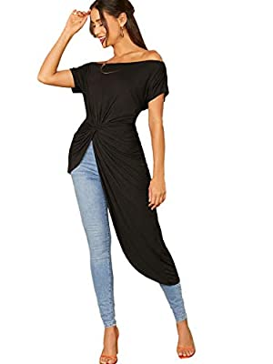 94.5% Rayon, 5.5% Spandex.Fabric is very stretch. High low off shoulder top.Very elegant and flattering. Model Measurements:Size : S Height:68.9inch ,Bust:33.1inch ,Waist:24inch ,Hips:35inch Size S of items:Shoulder: 25'', Bust: 45.75'', Sleeve Lengt...