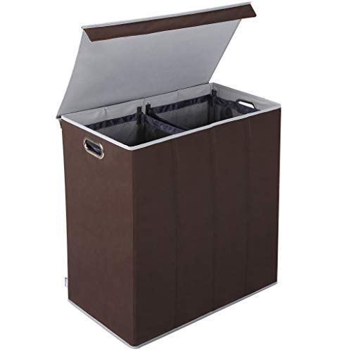 Rackaphile Wäschekorb Groß156L Wäschebox mit 2 Fächern Faltbare Wäschetruhe Wäschesammler mit Deckel und 2 herausnehmbaren Wäschesacke für Waschküche, Bad und Schlafzimmer, braun