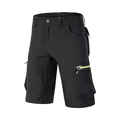 Ynport Men's Fast Dry Loose Fit MTB Shorts Mountain Bike Cycling Pants with Belt(No Padding) Black