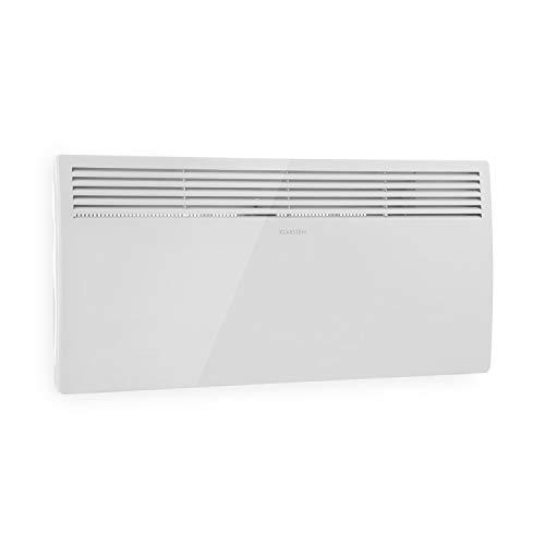 Klarstein Hot Spot Slimcurve Heizgerät - Elektroheizung mit Thermostat, 80 x 40 cm, Räume bis 40 m², 2000 Watt, 5-40 °C, LED, Timer, IP24, Wandmontage geeignet, weiß
