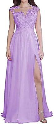 🌠Women's Sheer Neck A Line Chiffon Bridesmaid Dress Lace Split Prom Dress Long 🌠Design: Scoop, Built In Bra, Chiffon, Lace, A Line, Beaded, Sequins, Appliques, Sleeveless, Zipper Closure, Floor Length. 🌠Long Green Chiffon Bridesmaid Dresses 2021 Eleg...