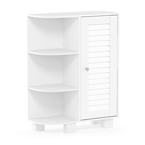Furinno Indo Storage Shelf Louver Door Cabinet, White