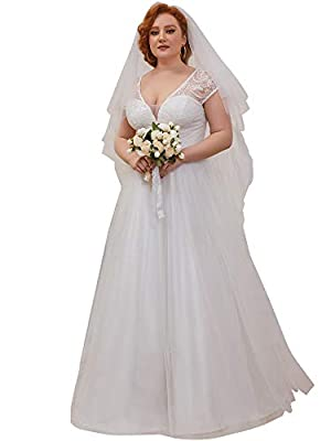 Fully lined, no built-in bras, low stretch Features: plus size, v neck, lace embroidered, cap sleeve, a line, lace and tulle, simple wedding dress This is the perfect dress for a classy, modern wedding, and would especially suit an outdoor wedding in...