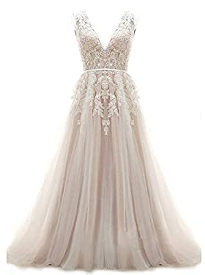 ★Design & fabric: V neckline, keyhole design for the back. Applique, sequins a line, sweep train. ★Size: PLEASE refer to our size chart, our dress is true to the size. Our size chart may varifies from the one you used before, so please CHECK OUT and ...