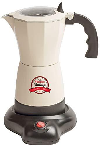 Bestron Elektrischer Espresso-Kocher mit Basis, Vintage, 6 Espressotassen, 480 Watt, Aluminium, Beige