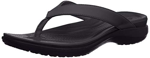 Crocs Capri V Flip Flops | Sandals for Women, Black/Graphite, 8
