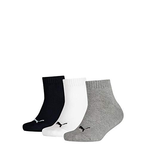 PUMA Quarter 3p sport, Grigio (Grey/White/Black 803), Unica (Taglia Produttore: 27/30) (Pacco da 3) Bambino