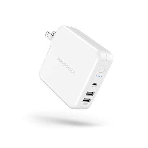 RAVPower モバイルバッテリー 搭載 USB 充電器 6700mAh 急速充電 【USB 2ポート 最大5V/3A 軽量 折畳式プラ...