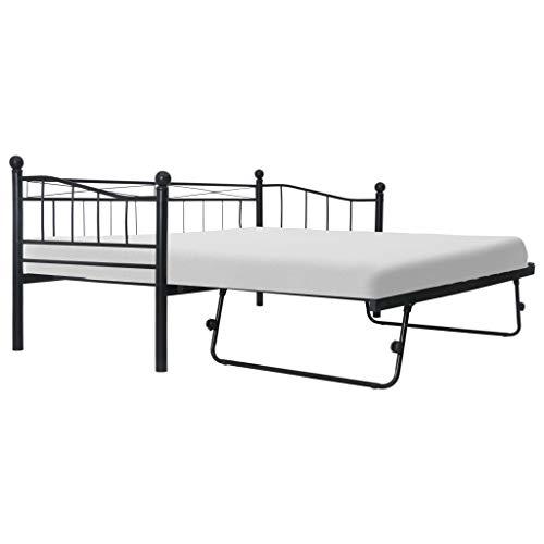 Tidyard Multifunktional Doppelbett Einzelbett Metallbett Ausziehbett Sofabett Gästebett Kinderbett, Bettgestell mit 2 Lattenroste, 180×200/90×200 cm Schwarz