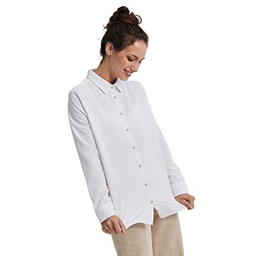 Sepiia Antimanchas Antiarrugas Transpirable Sin Olor Sin Marca Sudor Entalle Ajustado Camisa Manga Larga para Mujer (Blanco)