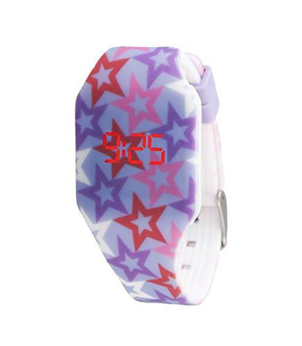 KIDDUS Reloj LED Digital para niña o niño. Pulsera de Silicona Suave para niños y Adultos. Batería Japonesa reemplazable. Fácil de Leer y Aprender Las Horas. KI10213 Estrellas
