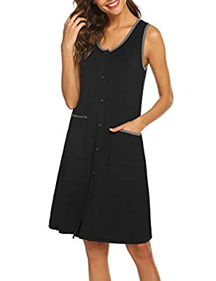【Soft Material】The women nightgown with pockets is made of 95%Rayon+5%Spandex.These front open gown is super soft,comfort, breathable and elastic. 【Classic Style】Ekouaer nightshirt featuring classic sleepwear style:sleeveless but contrast color liner...