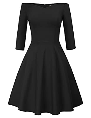 The high stretchy dress features 3/4 sleeves, off shoulder design, V-neck, flared A-Line silhouette, concealed zipper in the left side. The off shoulder dress is great for party, wedding, cocktail, daily casual, work, all seasons and occasions Hand W...